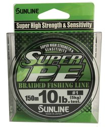 SUNLINE šňůra NEW SUPER PE 150m/10 Lbs/0,171mm-LGR