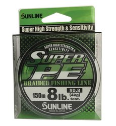 SUNLINE šňůra NEW SUPER PE 150m/8 Lbs/0,153 mm-LGR